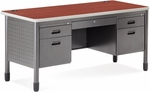 Mesa 27.75'' D x 59.25'' W Double Pedestal Teacher's Desk - Cherry [66360-CHY-MFO]
