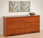 Monterey 6 Drawer 29''H Dresser with Side Moldings and Pewter Finished Knobs - Cherry [CDC-6330-K-FS-PP]