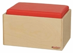 Children's Bench with Red Reversible Vinyl Cushions - Assembled - 16''W x 12.5''D x 9''H [31700-WDD]