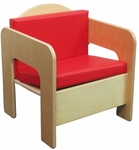Children's Chair with Two Reversible Red Vinyl Cushions - Assembled - 17''W x 15.75''D x 20''H [31500-WDD]