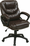 Work Smart Faux Leather Managers Chair with Padded Loop Arms - Chocolate [FL660-U2-FS-OS]