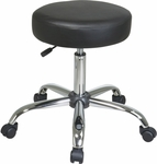 Work Smart Chrome Finish Backless Stool with Vinyl Seat and Casters - Black [ST428V-3-FS-OS]