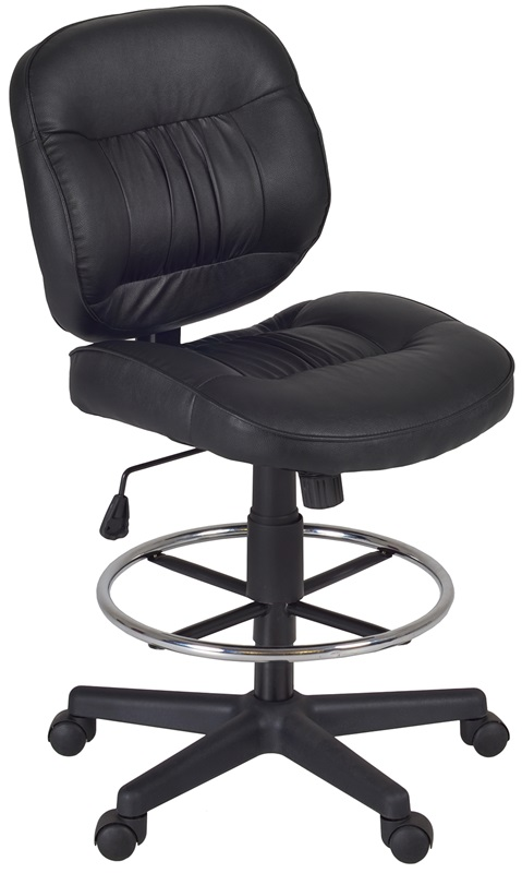 Cirrus Height Adjustable Armless Task Stool with Footrest Black