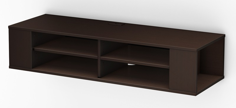 City life collection wall mounted media console chocolate Wall mounted media console