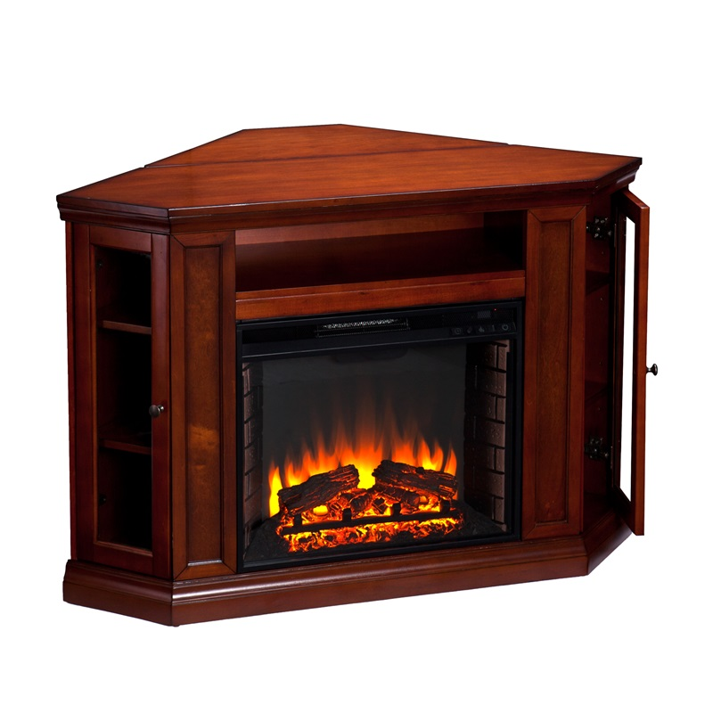 Claremont Corner Convertible Media Center With Glass Storage Doors And Electric Fireplace