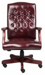 Classic Button Tufted Caressoft™ Chair with Brass Nail Head Trim - Oxblood [B905-BY-FS-BOSS]