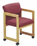 Classic Series Ergo Back Guest Chair with Sled Base and Casters [C1201C3-FS-RO]