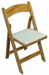 Classic Series 30.5''H Wood Folding Chair - Natural - White Vinyl Seat Pad [111003-MES]