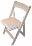 Classic Series 30.5''H Wood Folding Chair - White - White Vinyl Seat Pad [111001-MES]