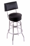 Classic 25'' Chrome Finish Counter Height Swivel Stool with Black Vinyl Seat and Back [C7C425BLKVINYL-FS-HOB]
