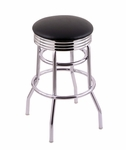 Classic 25'' Chrome Finish Counter Height Swivel Stool with Black Vinyl and 2.5'' Ribbed Accent Ring Seat [C7C3C25BLKVINYL-FS-HOB]