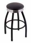 Classic 25'' Black Finish Counter Height Swivel Stool with Black Vinyl and 2.5'' Ribbed Accent Ring Seat [C8B3C25BLKVINYL-FS-HOB]