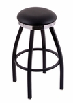 Classic 25'' Black Finish Swivel Counter Height Stool with Black Vinyl and Flat Accent Ring Seat [C8B2C25BLKVINYL-FS-HOB]