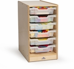 Clear Tray Birch Laminate Single Storage Cabinet with Casters [WB7001-FS-WBR]