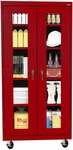 See-Thru Series 36'' W x 18'' D x 78'' H Clear View Mobile Tall Storage Cabinet - Red [TA4V-361872-01-EEL]