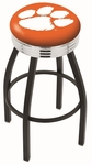 Clemson University 25'' Black Wrinkle Finish Swivel Backless Counter Height Stool with Ribbed Accent Ring [L8B3C25CLMSON-FS-HOB]