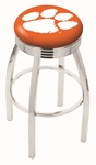 Clemson University 25'' Chrome Finish Swivel Backless Counter Height Stool with 2.5'' Ribbed Accent Ring [L8C3C25CLMSON-FS-HOB]