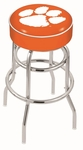 Clemson University 25'' Chrome Finish Double Ring Swivel Backless Counter Height Stool with 4'' Thick Seat [L7C125CLMSON-FS-HOB]