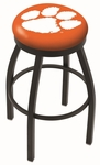Clemson University 25'' Black Wrinkle Finish Swivel Backless Counter Height Stool with Accent Ring [L8B2B25CLMSON-FS-HOB]