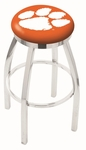 Clemson University 25'' Chrome Finish Swivel Backless Counter Height Stool with Accent Ring [L8C2C25CLMSON-FS-HOB]