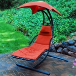 Cloud 9 Hanging Chaise Lounge Chair with Black Frame and Removable Pad - Burnt Orange [4717-FS-ALG]