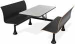Retro Bench 24'' x 48'' Stainless Steel Top and Wall Frame - Black Seats [1006W-BLK-MFO]
