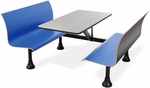 Retro Bench 24'' x 48'' Stainless Steel Top and Wall Frame - Blue Seats [1006W-BLUE-MFO]