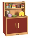 Colorful Essentials Kitchen Cupboard Play Station with Interior Shelves - Red [ELR-0745-RD-ECR]