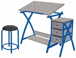 Comet Craft and Storage Center with Stool - Blue and Splatter Gray [13321-FS-SDI]