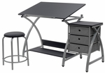 Comet Craft and Storage Center with Stool - Silver and Black [13325-FS-SDI]