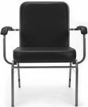 Comfort Class Big & Tall 500 lb. Capacity Anti-Microbial and Anti-Bacterial Vinyl Stack Chair with Arms- Black [300-XL-VAM-606-MFO]