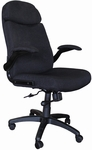 Comfort Series 500 lb Capacity Big & Tall Pivot Arm Chair - Black [6446AG2113-FS-MAY]