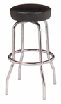 Chrome Single Ring Bar Stool with Round Footrest and Seamless Dome Seat [B-7-50-MPL]