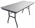 Commercialite Rectangular Polyethylene Folding Table with Locking Legs - 48''D x 30''W x 30''H [77790-MCC]