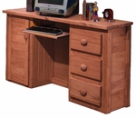 Rustic Style 53''W x 16''D Solid Pine 3 Drawer Computer Desk with Cabinet - Mahogany Stain [31500-FS-CHEL]