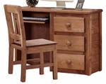 Rustic Style 43''W x 16''D Solid Pine 3 Drawer Computer Desk - Mahogany Stain [31502-FS-CHEL]