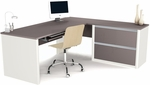 Connexion Reversible L-Shaped Workstation with File Drawers and Keyboard Drawer - Sandstone and Slate [93862-59-FS-BS]