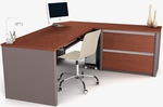 Connexion Reversible L-Shaped Workstation with File Drawers and Keyboard Drawer - Bordeaux and Slate [93862-39-FS-BS]