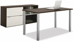 Contempo Executive Desk Kit with Scratch and Stain Resistant Finish - Tuxedo and Sandstone [50854-60-FS-BS]