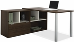 Contempo L-Shaped Desk with Scratch and Stain Resistant Finish - Tuxedo [50852-78-FS-BS]