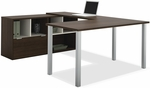 Contempo U-Shaped Desk with Scratch and Stain Resistant Finish - Tuxedo [50853-78-FS-BS]