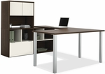 Contempo U-Shaped Desk with Open Storage and Filing Drawer - Tuxedo and Sandstone [50851-60-FS-BS]