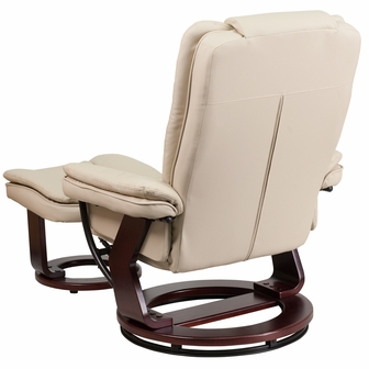 Contemporary Beige Leather Recliner And Ottoman With