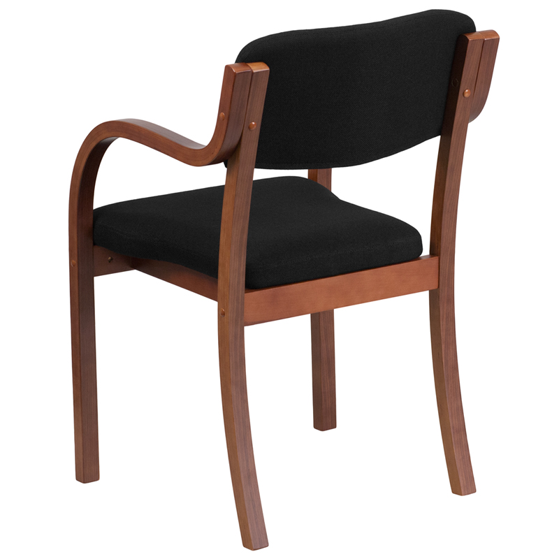 Wood Side Chair With Arms ~ Contemporary walnut wood side reception chair with arms