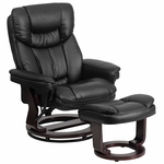 Contemporary Black Leather Recliner and Ottoman with Swiveling Mahogany Wood Base [BT-7821-BK-GG]