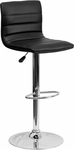 Contemporary Black Vinyl Adjustable Height Barstool with Chrome Base [CH-92023-1-BK-GG]