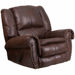 Contemporary Breathable Comfort Padre Espresso Fabric Rocker Recliner with Brass Accent Nails [WA-1459-690-GG]