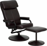 Contemporary Brown Leather Recliner and Ottoman with Leather Wrapped Base [BT-7863-BN-GG]