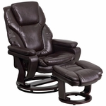 Contemporary Brown Leather Recliner and Ottoman with Swiveling Mahogany Wood Base [BT-70222-BRN-FLAIR-GG]