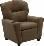Contemporary Brown Microfiber Kids Recliner with Cup Holder [BT-7950-KID-MIC-BRWN-GG]